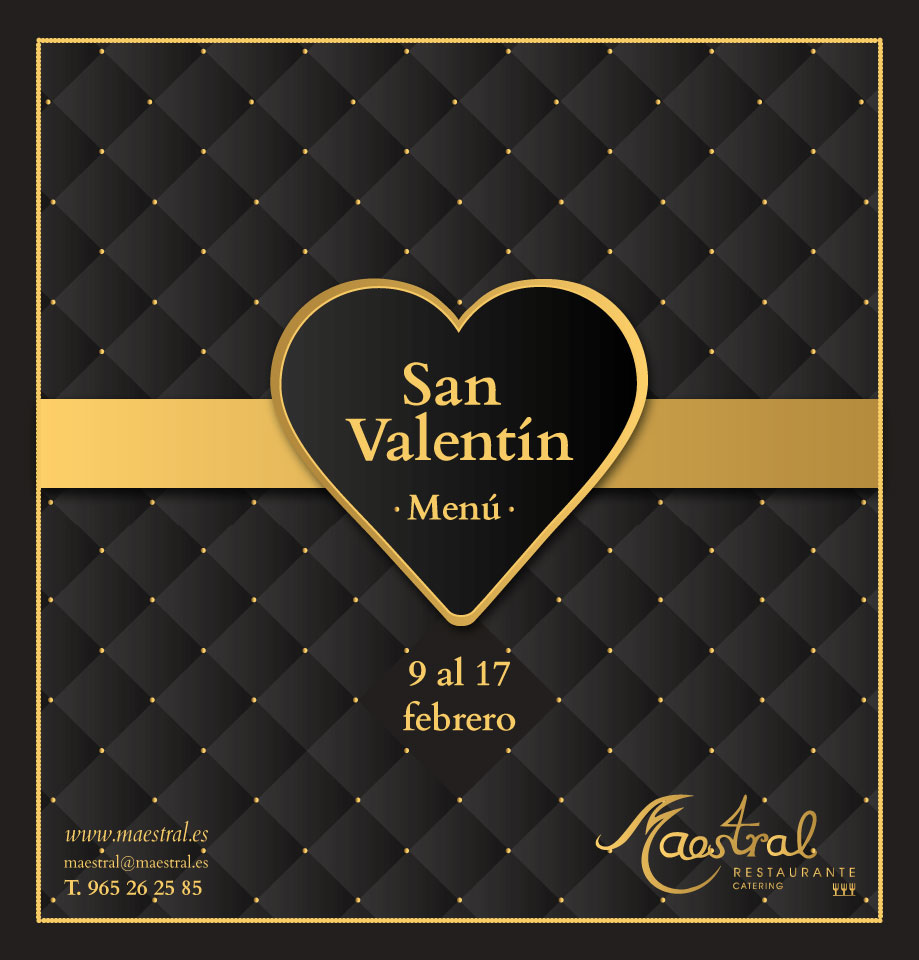 Menú especial San Valentín Maestral 2018 restaurante romántico
