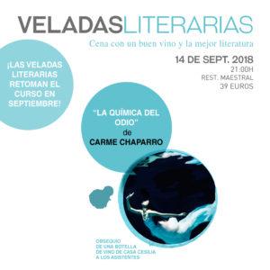 """Veladas Literarias Maestral con Carme Chaparro y """"La química del odio"""""""