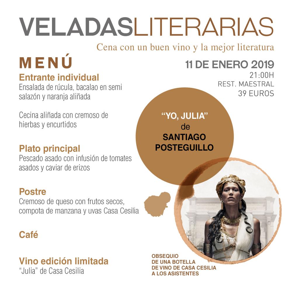 Menu y vino Veladas Literarias Maestral con Santiago Posteguillo