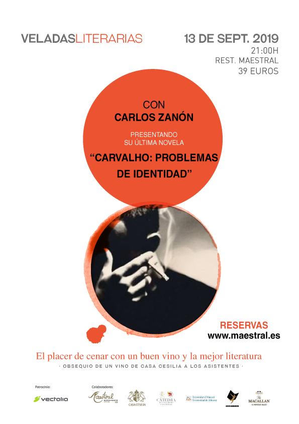 Veladas Literarias Maestral con Carlos Zanón el 13 de septiembre