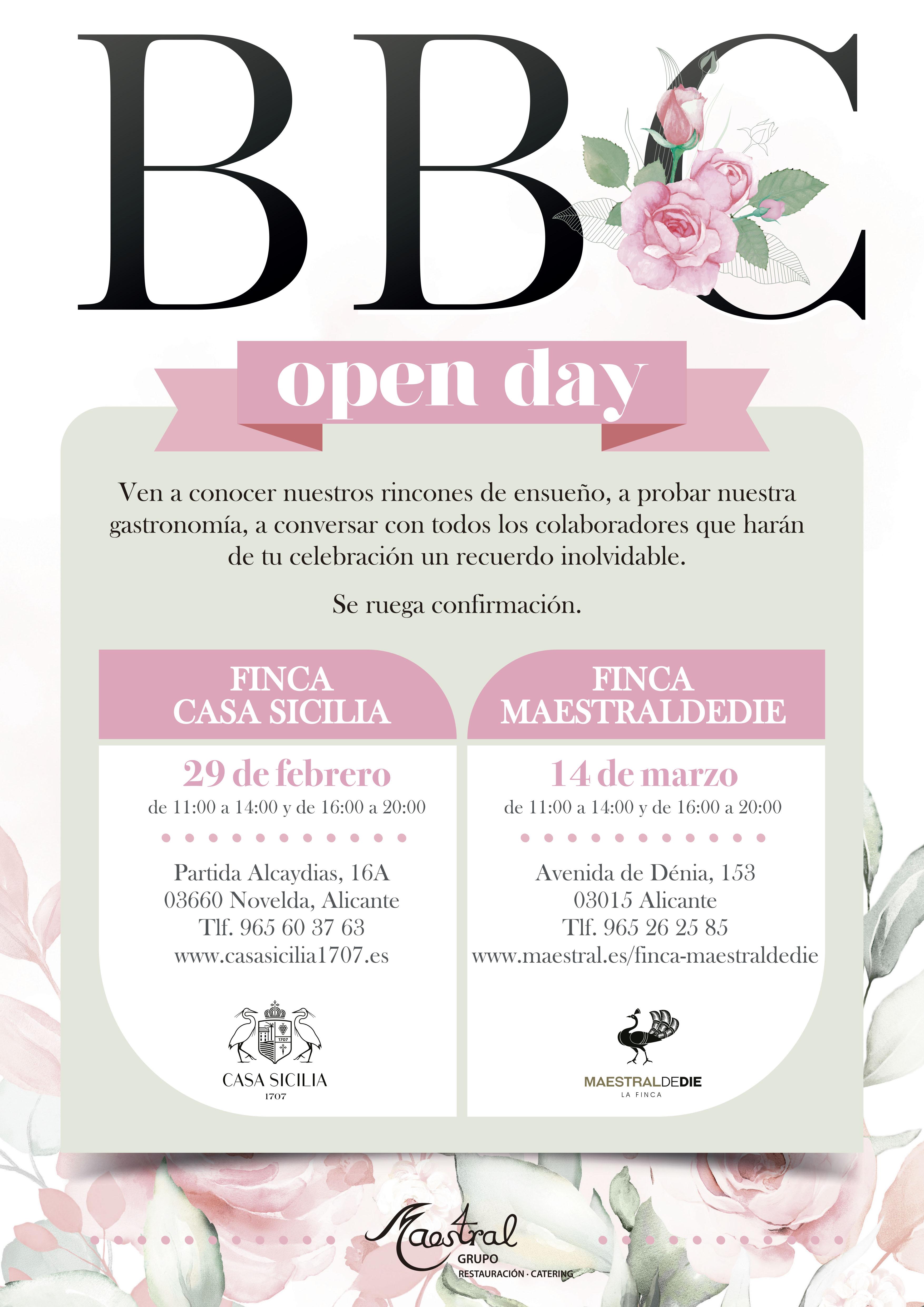 Cartel Open Day Casa Sicilia y Maestraldedie